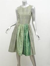 OSCAR DE LA RENTA Green Mixed Print Floral Diamond Pleated Dress+Pockets 4 NEW