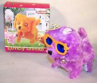 2 Sunglass Fuzzy Walking Barking Toy Moving Dog Battery Operated Light Eyes