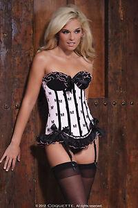 Sexy Lingerie Coquette Pink Bow Mesh Print Boned Corset w Velvet ... 45e292c36