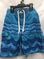 Joe Boxer Boys Swimsuit Blue Size 8 Ocean Wave Design Outside Side Pocket