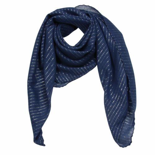 Baumwolltuch ° blau navy Lurex silber ° quadratisches Tuch