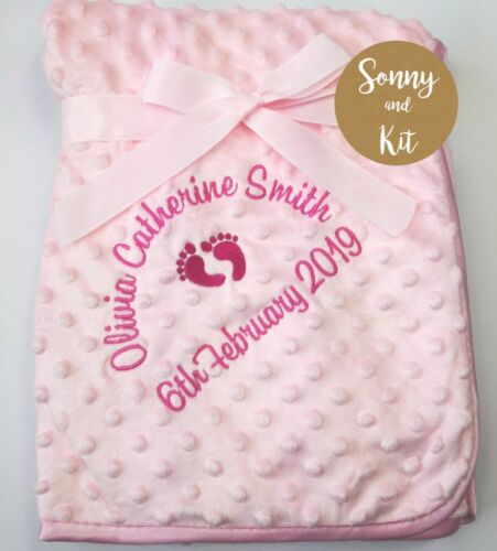 Birth Details Personalised Baby Girl Blanket Embroidered New Born Pink Gift