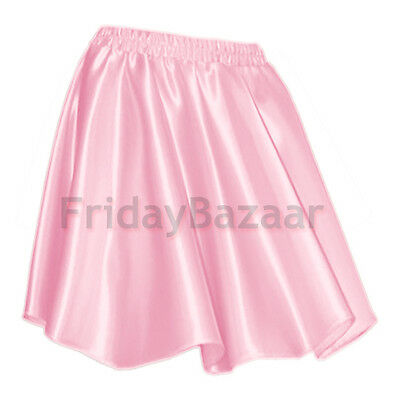 PINKWomen Lady Satin Shiny Mini Skirt Pleated Retro High Waist Club S~3XL