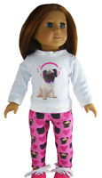 Pug Dog Handmade Leggings & T-shirt For 18 American Girl Doll Clothes Doggy