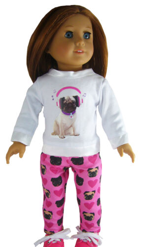 """PUG Dog Leggings & T-Shirt! for 18"""" American Girl Doll Clothes S"""