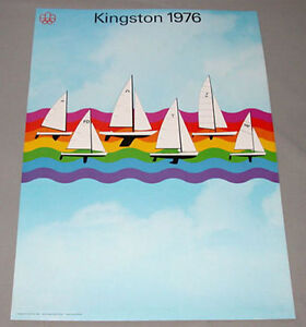 Original Montreal 1976 Summer Olympic Official Kingston Yachting  Poster