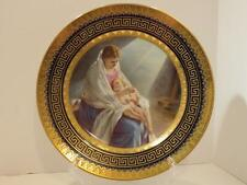 Antique Royal Vienna Cobalt Blue Gold Gilt  MADONNA CHILD Cabinet PLATE Xmas