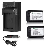 2x Np-fw50 Batteries + Charger For Sony Alpha Nex-6 Nex-7 Nex-3n Nex-5n A5000 A7