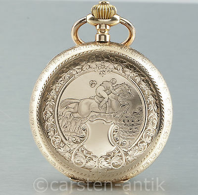 Jewelry & Watches 57mm/122g Anchor Chronometer Pocket Watch Rider Pegasus Motif 14k Gold Swiss Cleaning The Oral Cavity. Watches, Parts & Accessories