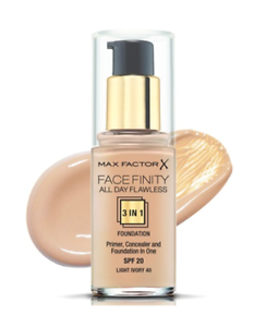 Details about Max Factor Face Finity All Day Flawless 3-in-1 Foundation -Light Ivory 40 SPF 20