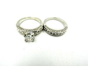 Costume Jewelry Engagement & Wedding Ring Set Size 9, Silver Color - NEW