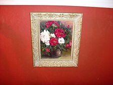 VINTAGE ORIGINAL Signed Wieser Oil on Canvas:  Red & White Roses Vase Still Life