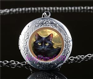 Foto-de-gato-negro-Cabochon-De-Vidrio-Amuleto-Collar-Colgante-Plata-Tibet