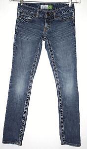 Aeropostale-Womens-Sz-00-Short-Jeans-Medium-Blue-Wash-Skinny-Slim-Stretch-Bayla