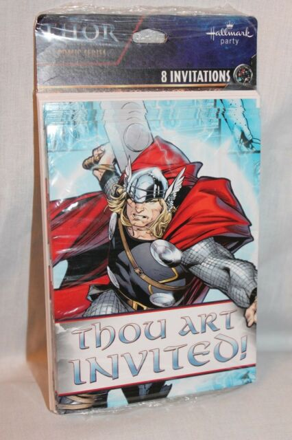 Thor birthday party invitations 8ct ebay new in package thor 8 invitations with envelopes party supplies filmwisefo