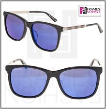 561403a06 GUCCI WEB 0078 Gold Metal Etched Aviator Black Blue Mirrored Sunglasses  GG0078SK
