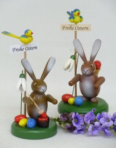 Oster Holz Hase mit Eierkiepe und Hasenmaler Handwerkskunst aus dem Erzgebirge