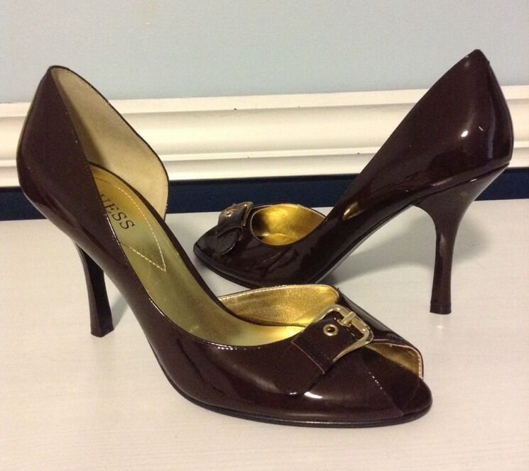 Guess Open Toe Heels Sz 8 1 2 M Leather Upper
