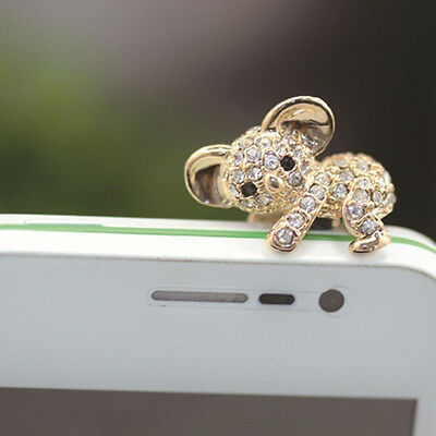Rhinestone Crystal Cellphone Charms Stoppers Earphone Jack Anti Dust Plug Cap