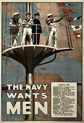 WA1 Vintage WWI British Royal Navy Wants Men War Recruitment Poster WW1 A4