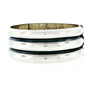 Vintage Mexico .925 Silver Large Wide Diagonal Grooved Work Cuff Bangle Bracelet