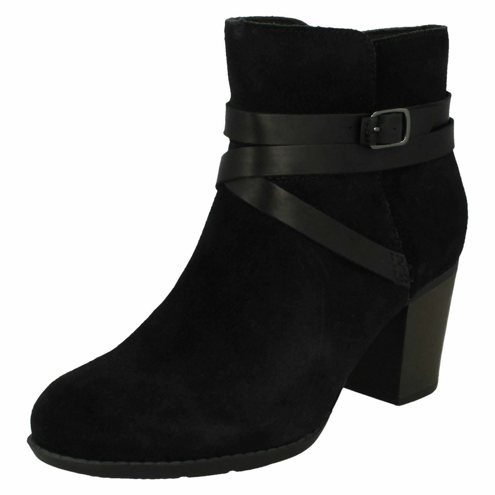 Enfield women coco suede stylish black mid heel ankle boots