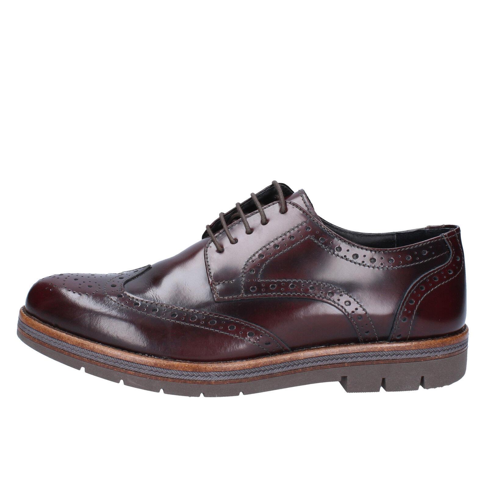 Mens shoes SALVO FERDI 8 (EU 42) elegant burgundy leather BX296-42