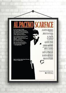 Scarface Vintage Classic Movie Poster Art Print A0 A1 A2 A3 A4 Maxi