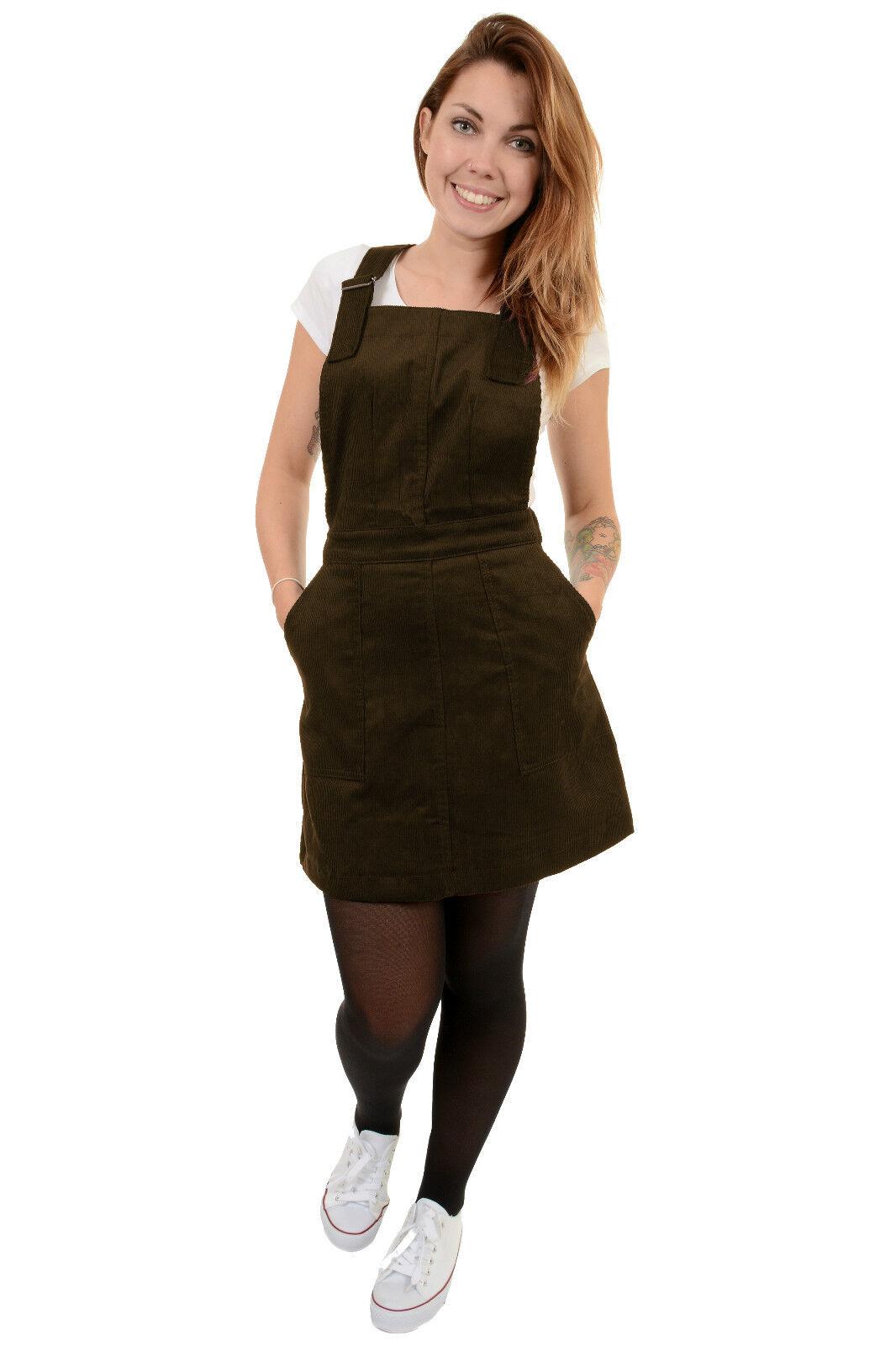 Ladies Retro Indie Brown Corduroy Run & Fly Pinafore Dress