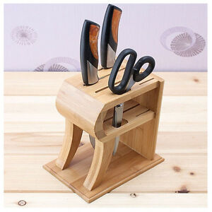 6 pocket bamboo stand rack knife kitchen shears knife sharpener knives holder ebay. Black Bedroom Furniture Sets. Home Design Ideas