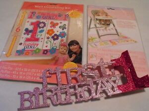 Image Is Loading First 1st Birthday Girls Pink Party Supplies Decorations