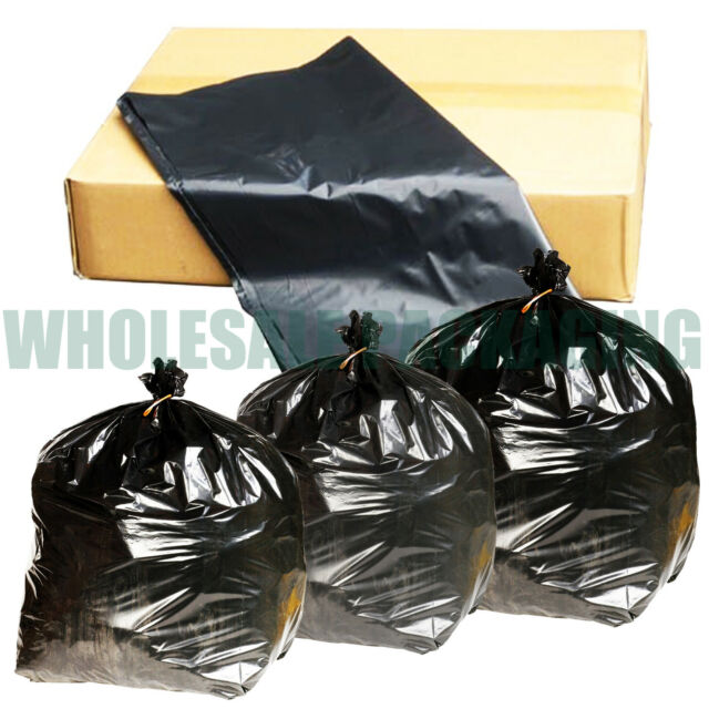 HEAVY DUTY BLACK REFUSE SACKS BAGS BIN LINERS BAG RUBBISH UK MADE 160G