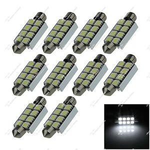 10X White 41MM 42MM 8 SMD 5050 LED Interior Light Canbus Error Free Auto ZI313