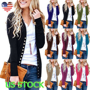 authorized site new cheap largest selection of Details about Women Long Sleeve Knitted Snap Button Open Front Cardigan  Sweater Thin Cardigan