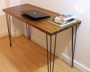 Schreibtisch Beine Holz.Details Zu Rustic Industrial Wooden Desk Console Table Metal Hairpin Legs