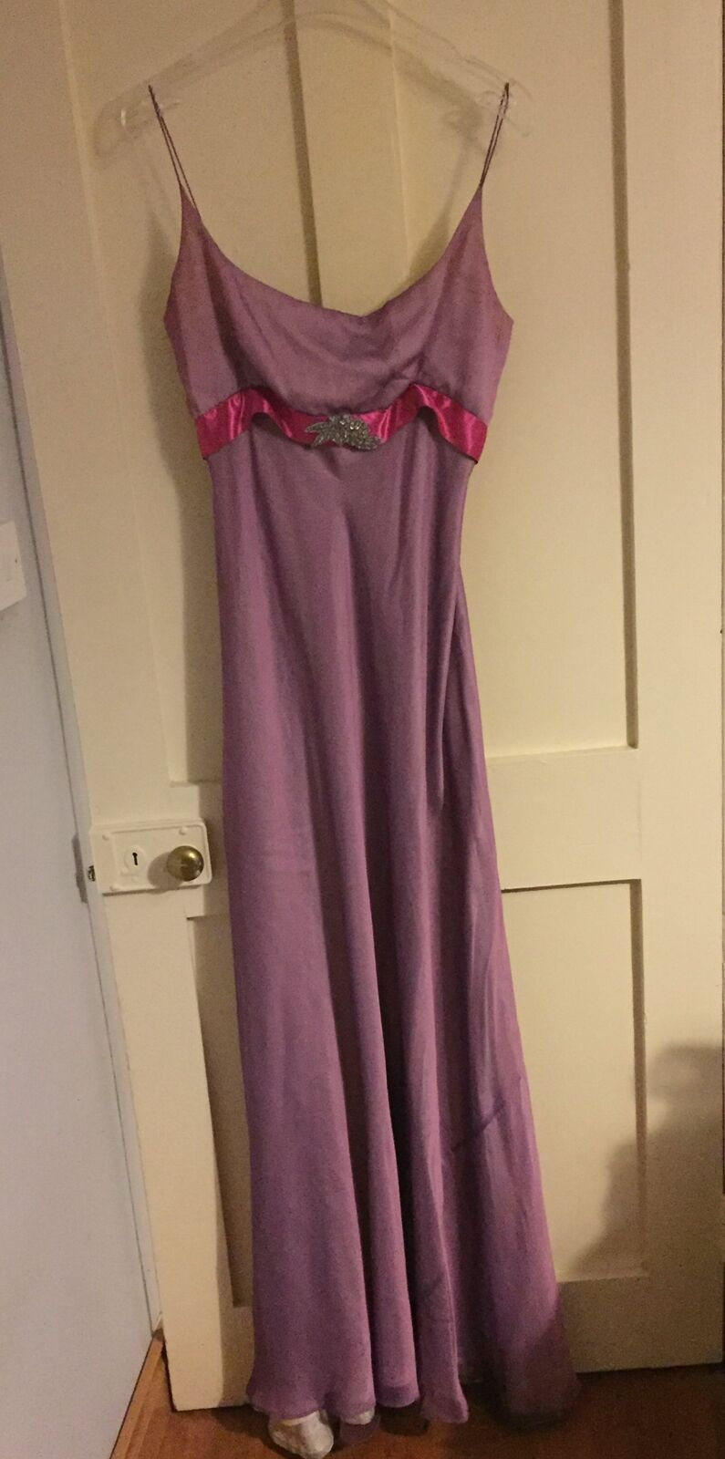 purplec & pink full length empire gown size 14 (small fit)