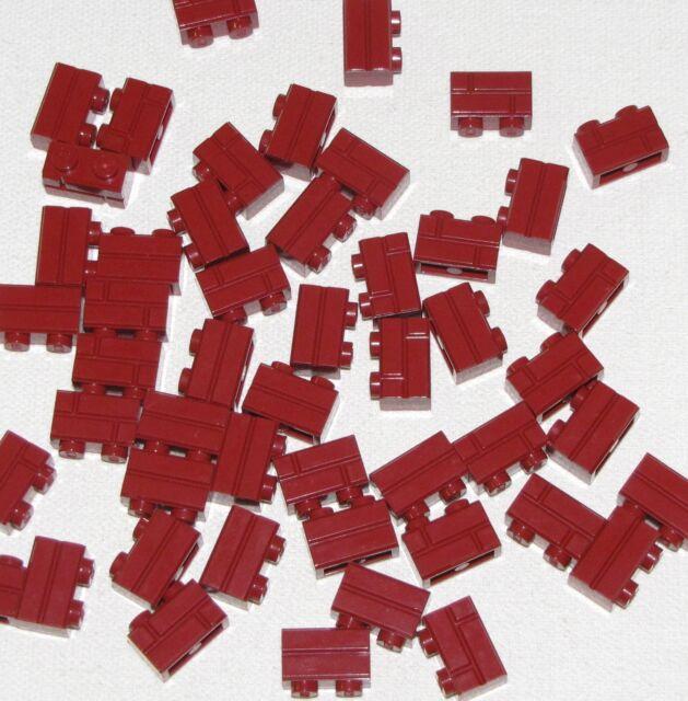 50 NEW LEGO Brick 1 x 2 Dark Red