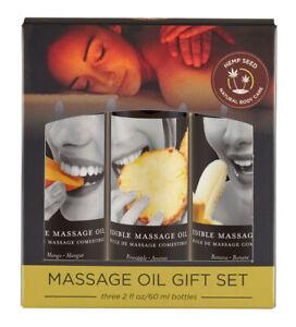 Edible Tropical Massage Oil Trio - Mango, Pineapple & Banana Flavoured - 3 x59ml
