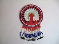 Handmade Beaded Headdress Rosette For Native Regalia Bags Buckskins Glass Beads