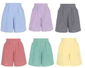 0c7c95315 Image is loading Girls-Gingham-Pleated-School-Shorts-Elasticated-Waist- Culotte-