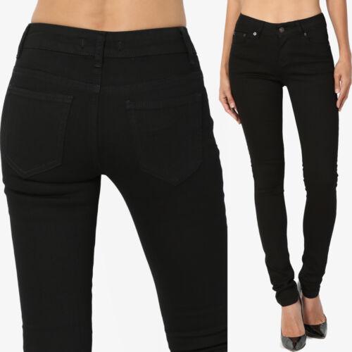 TheMogan 0~3X Black Modern Everyday Basic Mid Rise 5 Pocket Ankle Skinny Jeans