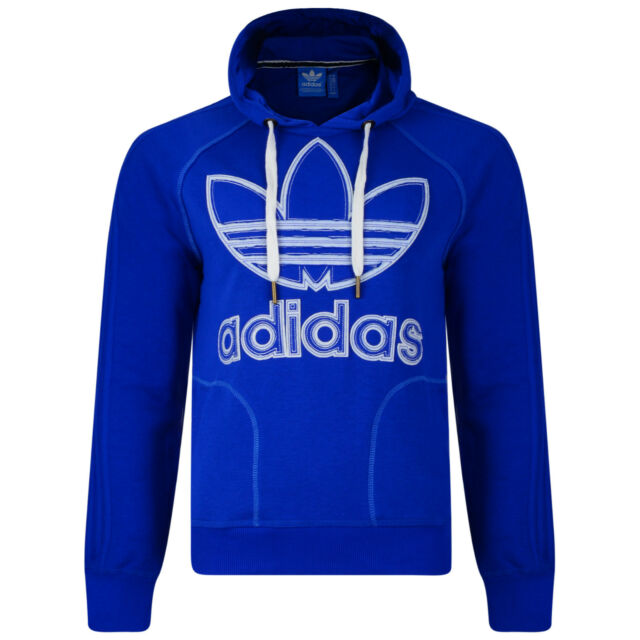 Mens New Adidas Originals Logo Hoodie Hoody Hooded Sweatshirt Jumper Top Blue