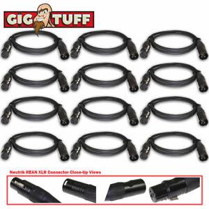 12-pack Gig Tuff 3 Ft (environ 0.91 M) Tour Pro Microphone Câble Neutrik Rean Xlr Awg20 Ofc 6.5 Mm-afficher Le Titre D'origine Prix Le Moins Cher De Notre Site