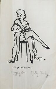 Lucienne-Pageot-Rousseaux-Drawing-Original-Ink-Dejazet-Dolly-Ferley