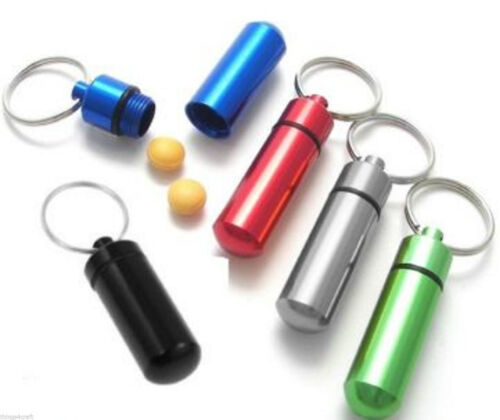 Aluminium cash pill CAPSULE waterproof money key ring tablet container emergency