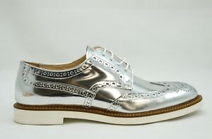New-in-Box-Roberto-Serpentini-Women-039-s-Silver-Leather-Brogues-1703