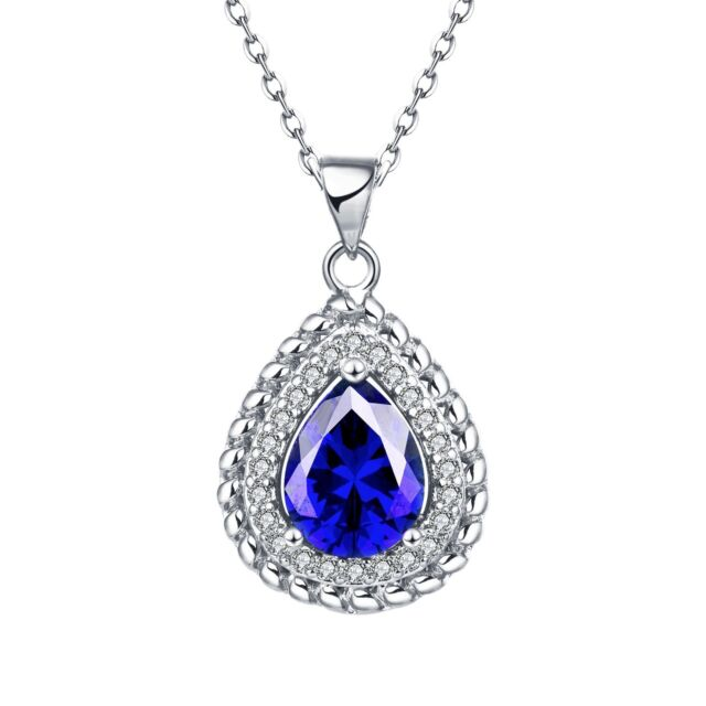 "Silver Lab Blue Sapphire Gemstone Pendant Necklace 18"" Chain"