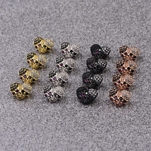 Zircon-Double-Skull-Ghost-Head-Pave-Diy-Bracelets-Connector-Beads-Charm-Jewelry