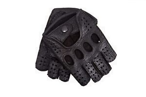 Men/'s Half Finger Driving Cycling Sport Peccary Leather Gloves Black White
