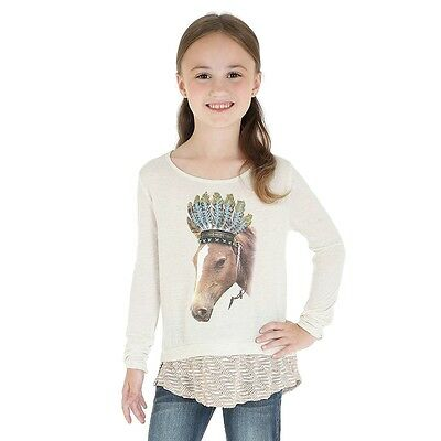 Wrangler Rock 47 Girls Western Cowgirl Pink Lace Horse Black T-Shirt GJK130X NWT